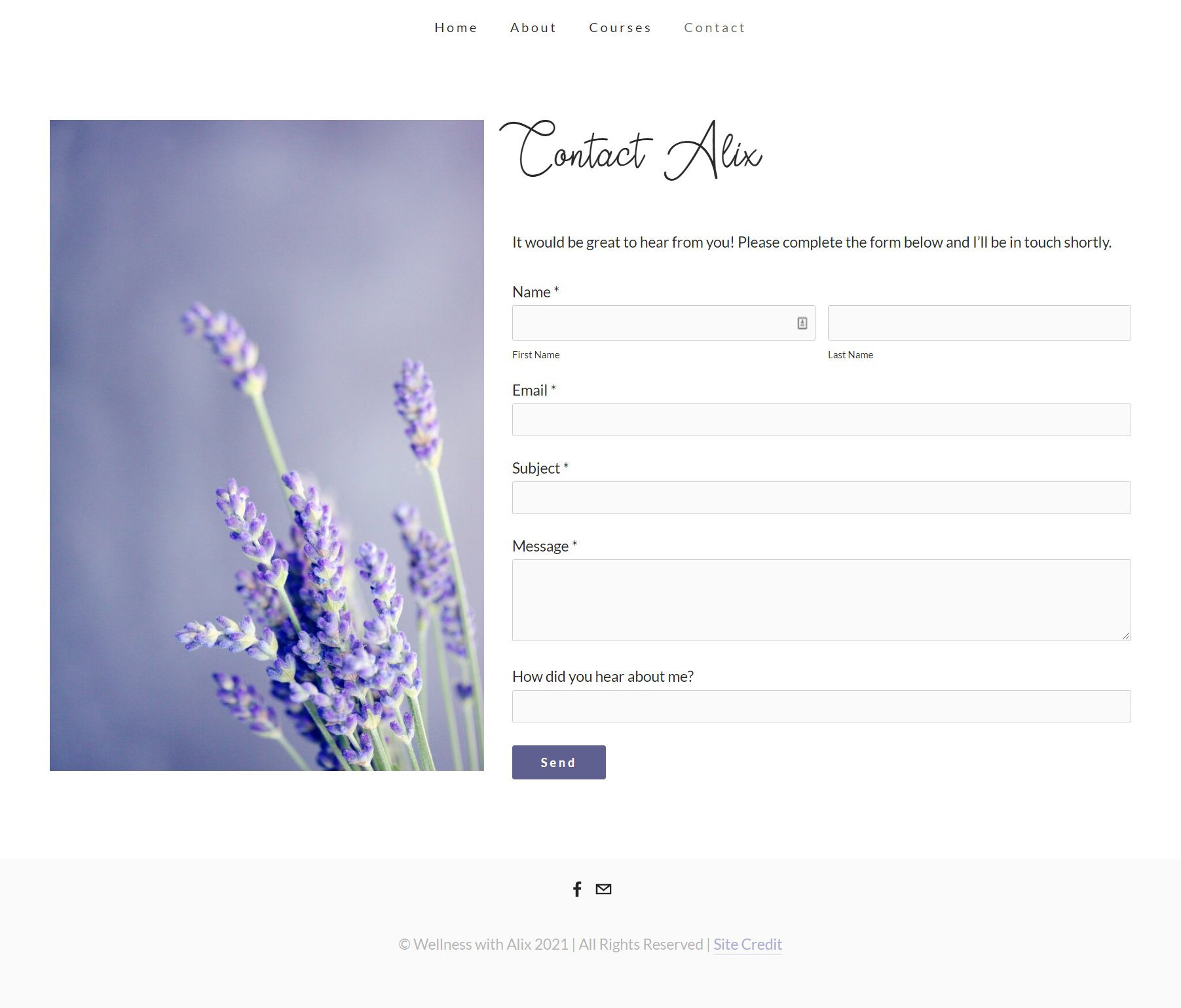 Wellness with Alix Contact Page